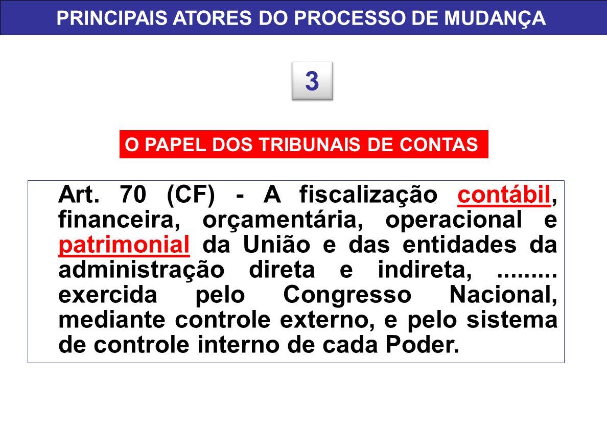 O PAPEL DOS TRIBUNAIS DE CONTAS PRINCIPAIS ATORES DO PROCESSO DE MUDANÇA 3 3 Art. 70 (CF) - A fiscalização contábil, financeira, orçamentária, operaci