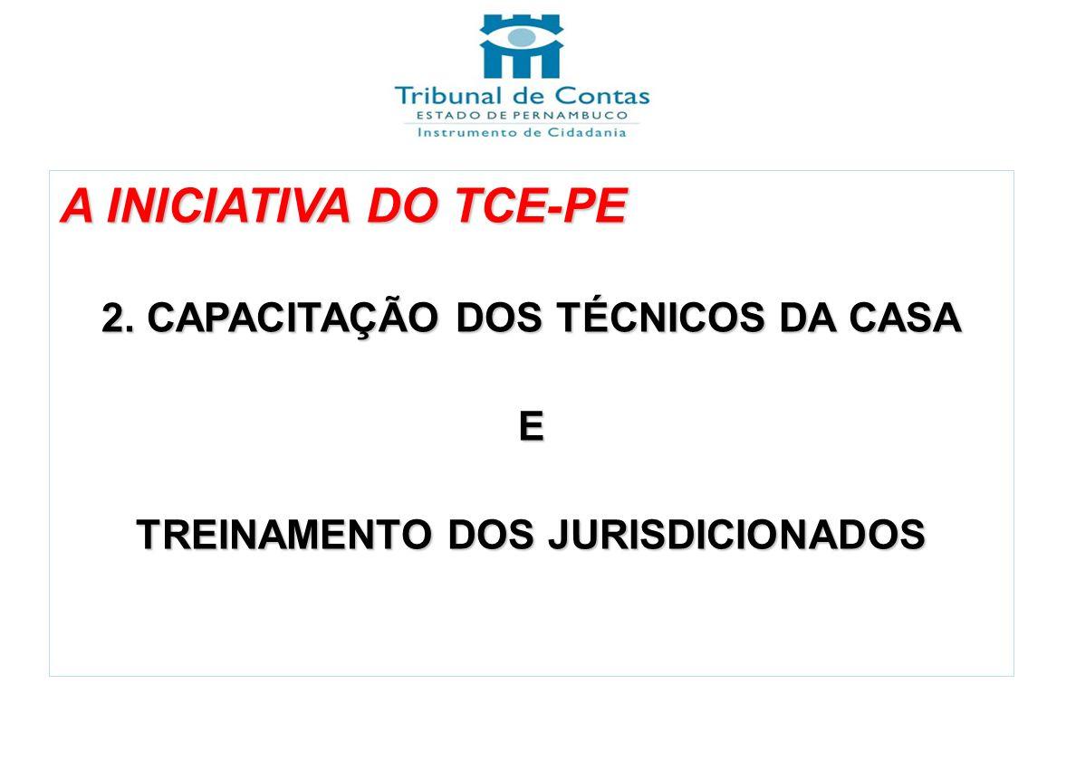 A INICIATIVA DO TCE-PE 2. CAPACITAÇÃO DOS TÉCNICOS DA CASA E TREINAMENTO DOS JURISDICIONADOS NBC T 16.9