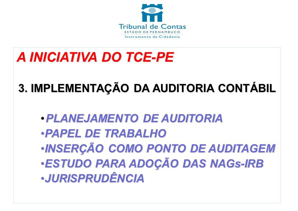A INICIATIVA DO TCE-PE 3. IMPLEMENTAÇÃO DA AUDITORIA CONTÁBIL PLANEJAMENTO DE AUDITORIAPLANEJAMENTO DE AUDITORIA PAPEL DE TRABALHOPAPEL DE TRABALHO IN
