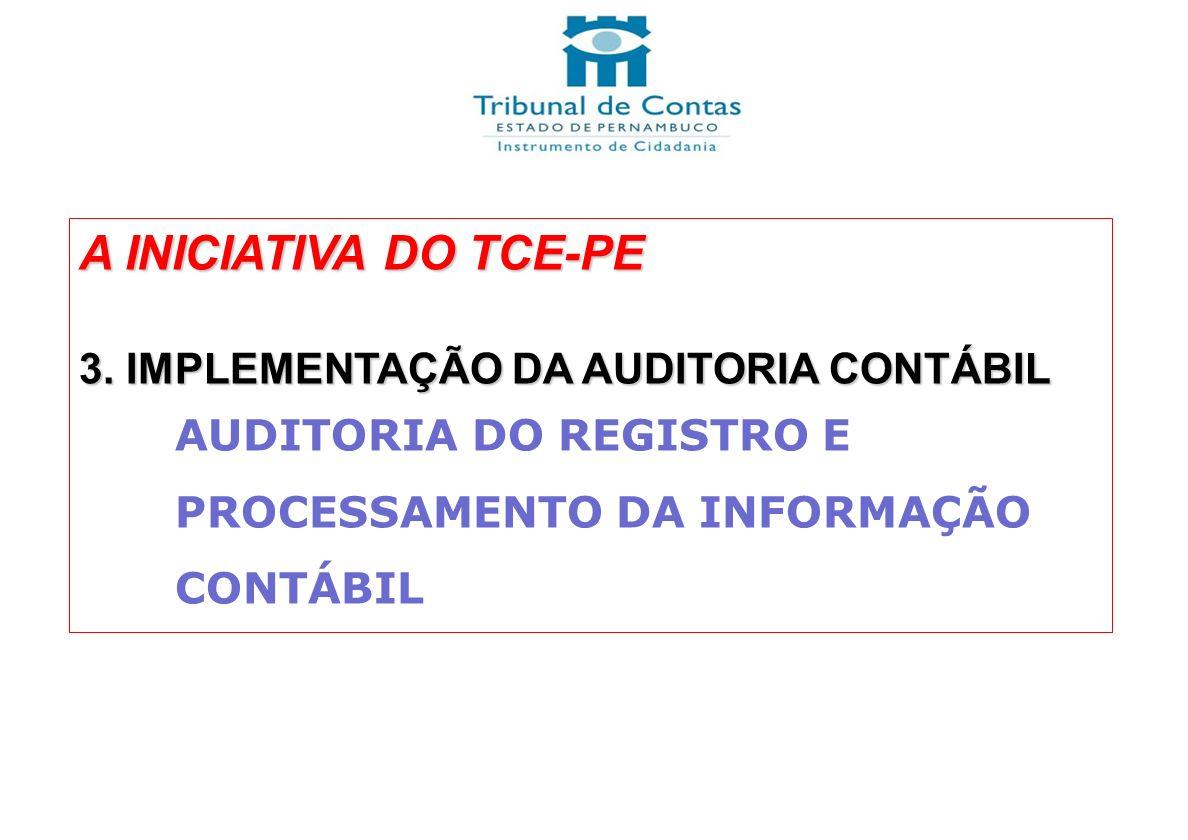 A INICIATIVA DO TCE-PE 3. IMPLEMENTAÇÃO DA AUDITORIA CONTÁBIL AUDITORIA DO REGISTRO E PROCESSAMENTO DA INFORMAÇÃO CONTÁBIL