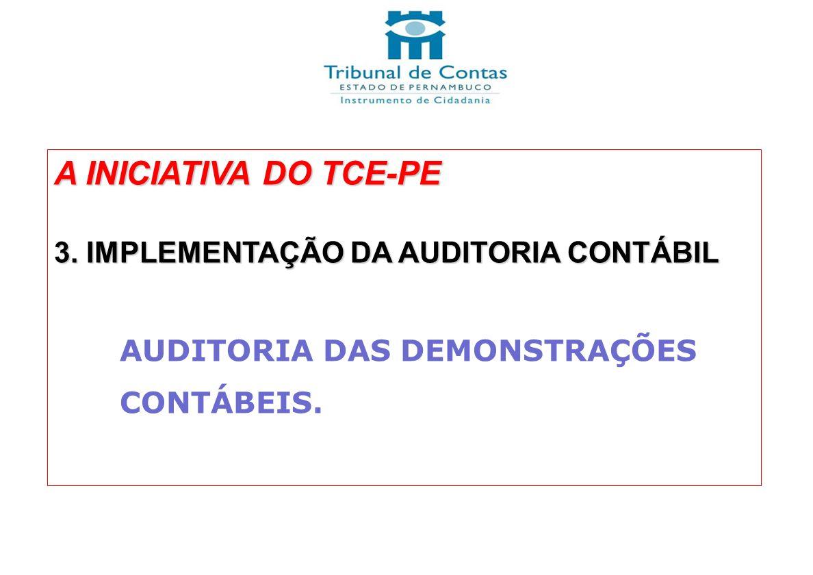 A INICIATIVA DO TCE-PE 3. IMPLEMENTAÇÃO DA AUDITORIA CONTÁBIL AUDITORIA DAS DEMONSTRAÇÕES CONTÁBEIS.