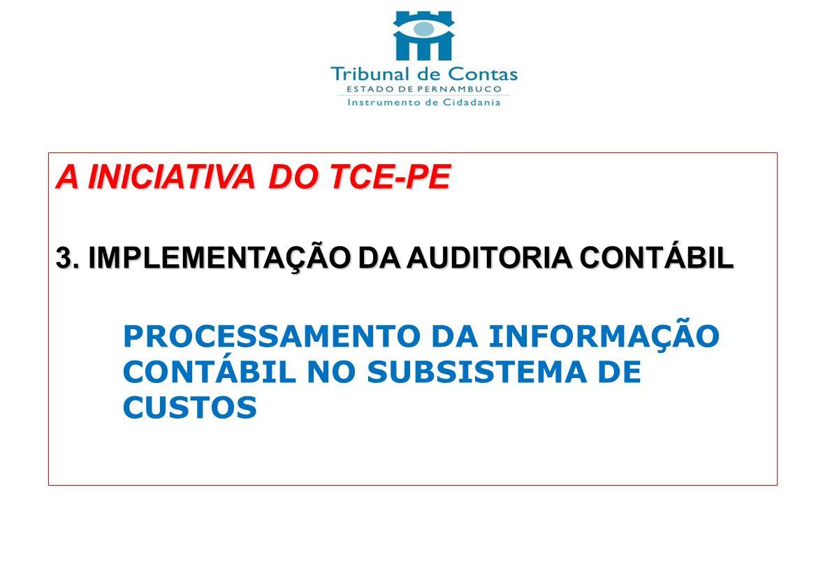 A INICIATIVA DO TCE-PE 3. IMPLEMENTAÇÃO DA AUDITORIA CONTÁBIL PROCESSAMENTO DA INFORMAÇÃO CONTÁBIL NO SUBSISTEMA DE CUSTOS
