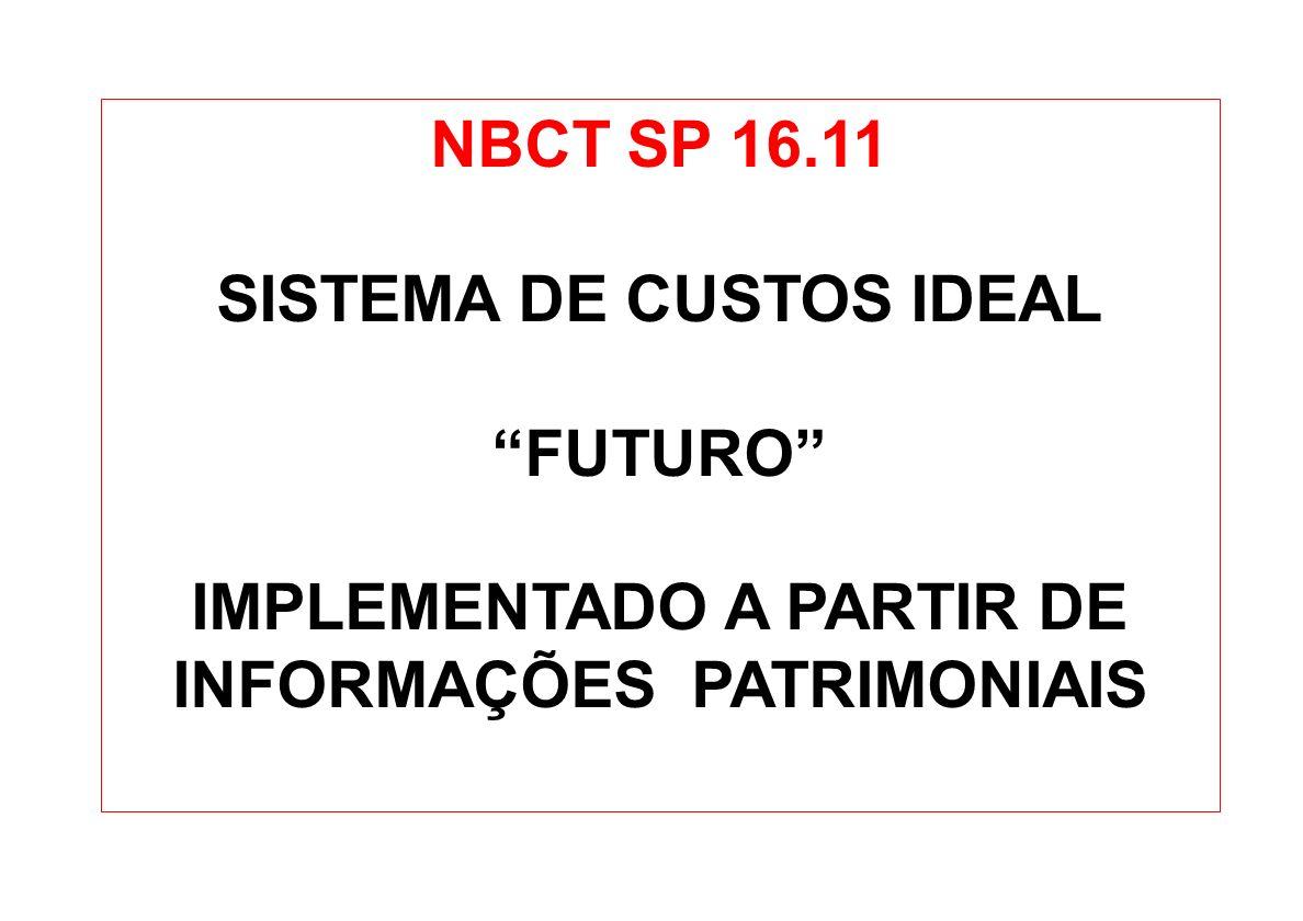 NBCT SP 16.11 SISTEMA DE CUSTOS IDEAL FUTURO IMPLEMENTADO A PARTIR DE INFORMAÇÕES PATRIMONIAIS