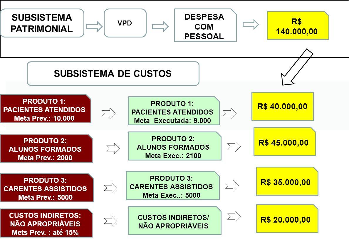 SUBSISTEMA DE CUSTOS PRODUTO 1: PACIENTES ATENDIDOS Meta Prev.: 10.000 PRODUTO 2: ALUNOS FORMADOS Meta Prev.: 2000 PRODUTO 3: CARENTES ASSISTIDOS Meta