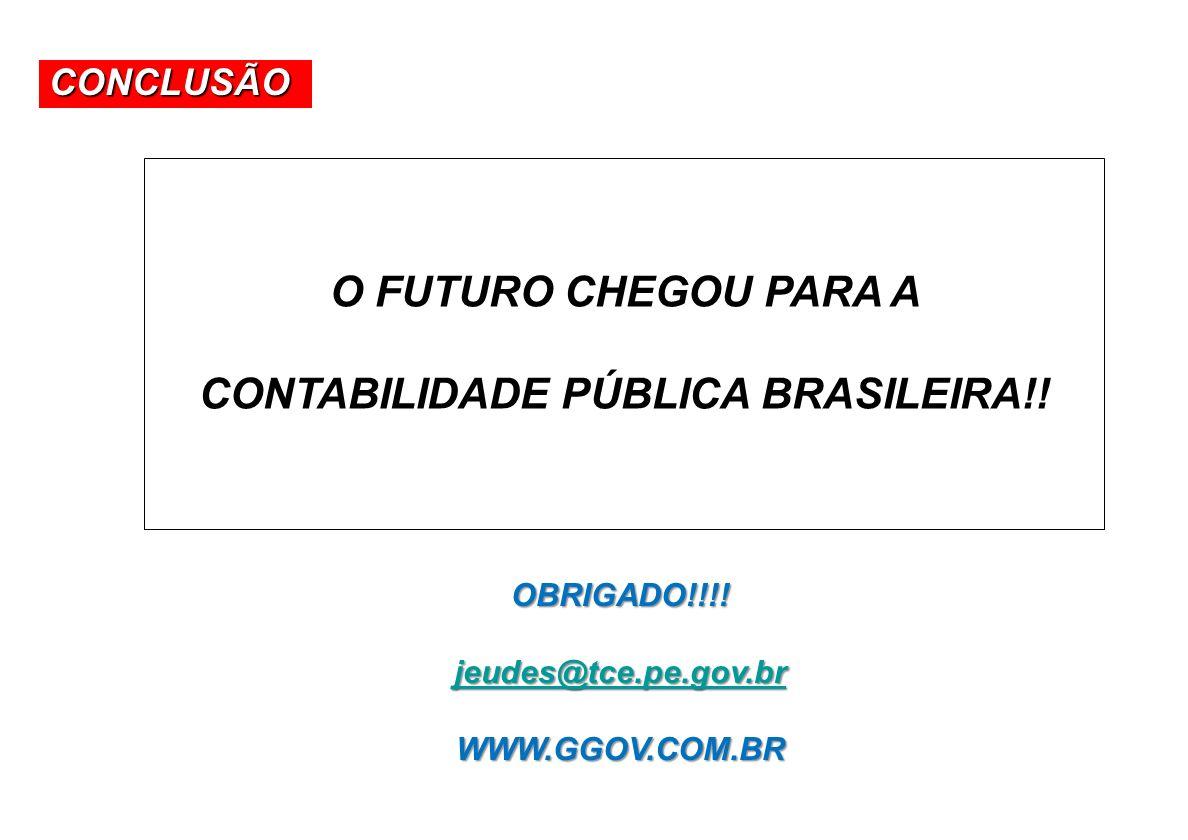 A Contabilidade na Constituição Federal CONCLUSÃO OBRIGADO!!!! jeudes@tce.pe.gov.br WWW.GGOV.COM.BR O FUTURO CHEGOU PARA A CONTABILIDADE PÚBLICA BRASI