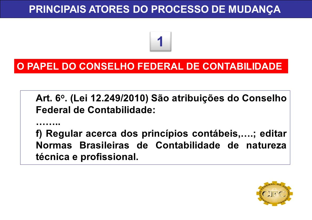 O PAPEL DO CONSELHO FEDERAL DE CONTABILIDADE Art. 6 o. (Lei 12.249/2010) São atribuições do Conselho Federal de Contabilidade: …….. f) Regular acerca