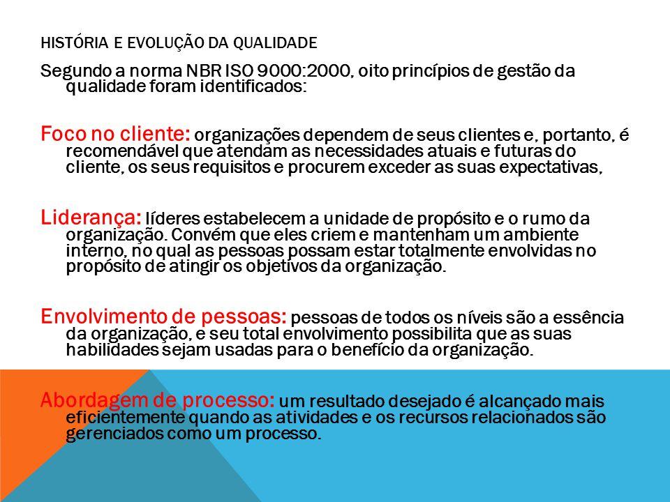 Segundo a norma NBR ISO 9000:2000, oito princípios de gestão da qualidade foram identificados: Foco no cliente: organizações dependem de seus clientes