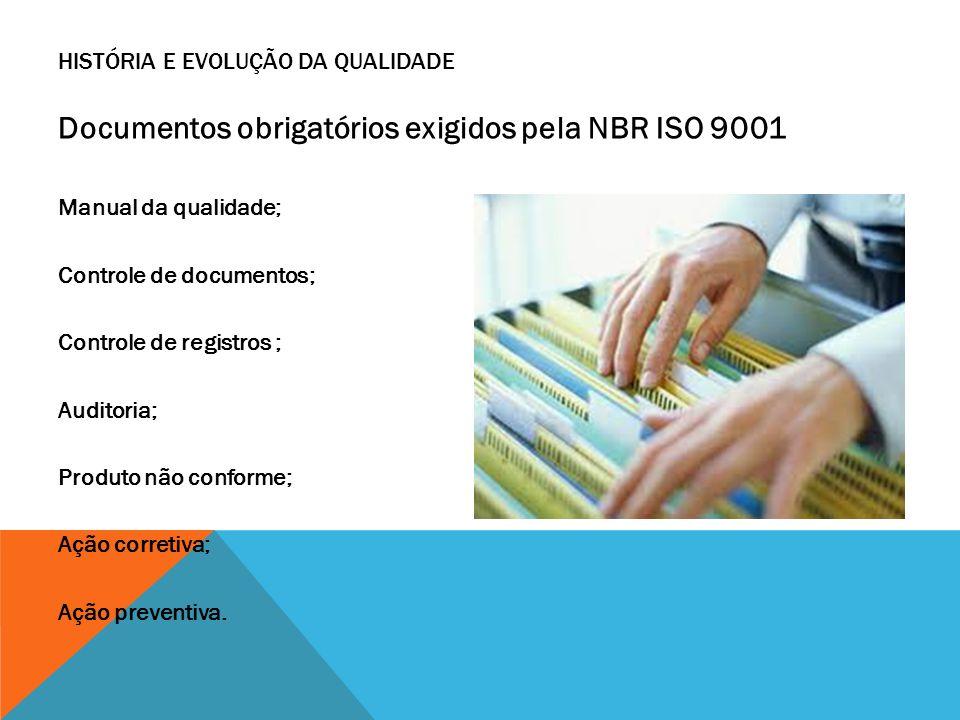 Documentos obrigatórios exigidos pela NBR ISO 9001 Manual da qualidade; Controle de documentos; Controle de registros ; Auditoria; Produto não conform