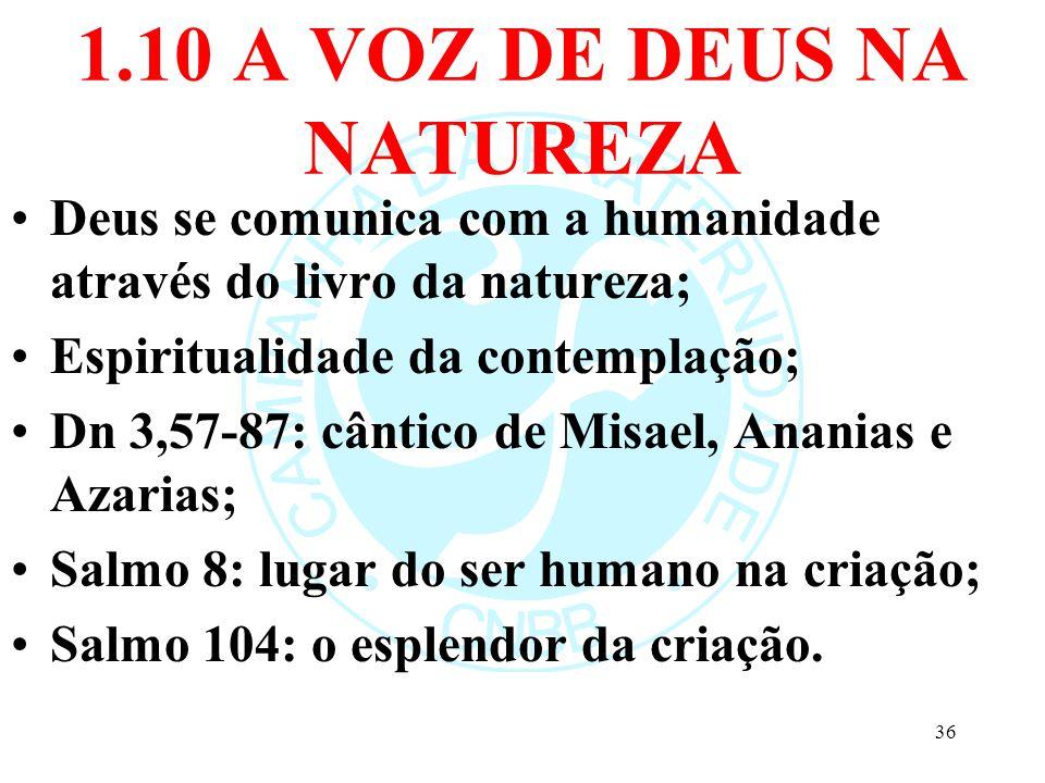 1.10 A VOZ DE DEUS NA NATUREZA Deus se comunica com a humanidade através do livro da natureza; Espiritualidade da contemplação; Dn 3,57-87: cântico de