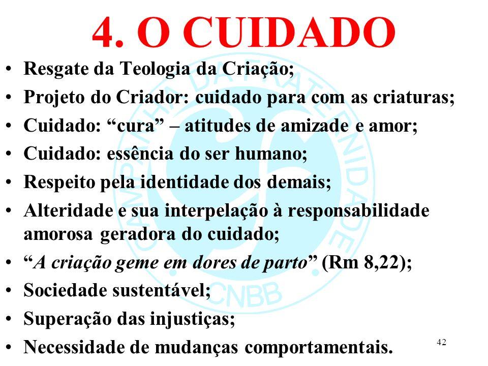 4. O CUIDADO Resgate da Teologia da Criação; Projeto do Criador: cuidado para com as criaturas; Cuidado: cura – atitudes de amizade e amor; Cuidado: e