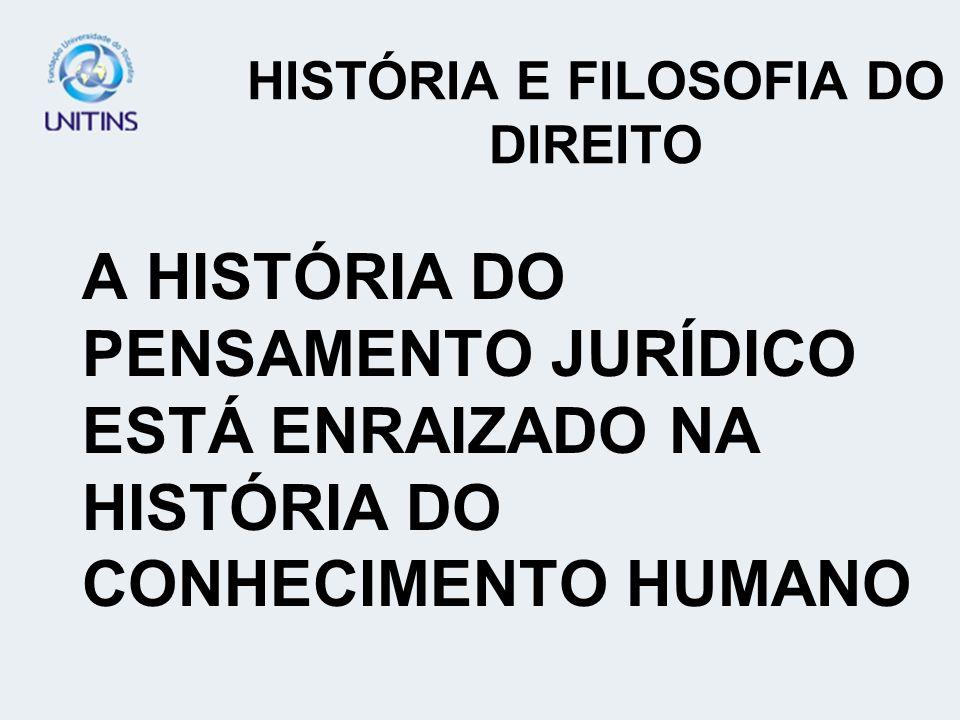HISTÓRIA E FILOSOFIA DO DIREITO A HISTÓRIA DO PENSAMENTO JURÍDICO ESTÁ ENRAIZADO NA HISTÓRIA DO CONHECIMENTO HUMANO