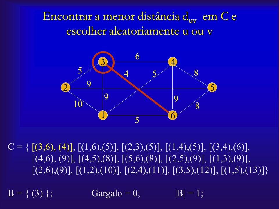 2 1 6 5 43 10 5 5 5 9 9 9 6 8 8 4 Encontrar a menor distância d uv em C e escolher aleatoriamente u ou v C = { [(3,6), (4)], [(1,6),(5)], [(2,3),(5)],