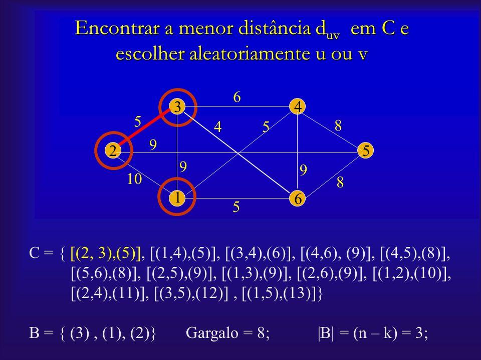 C = { [(2, 3),(5)], [(1,4),(5)], [(3,4),(6)], [(4,6), (9)], [(4,5),(8)], [(5,6),(8)], [(2,5),(9)], [(1,3),(9)], [(2,6),(9)], [(1,2),(10)], [(2,4),(11)