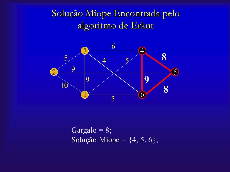 2 16 5 4 3 5 5 5 9 9 9 6 8 8 4 Solução Míope Encontrada pelo algoritmo de Erkut Gargalo = 8; Solução Míope = {4, 5, 6};