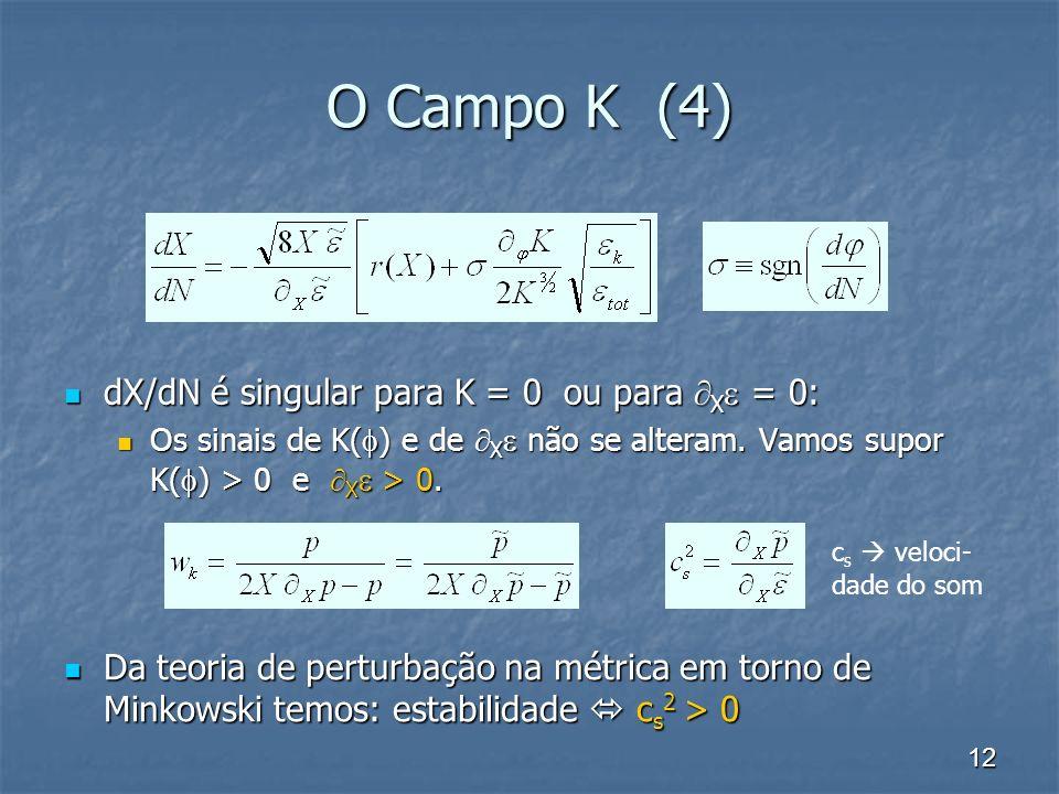 12 O Campo K (4) dX/dN é singular para K = 0 ou para X = 0: dX/dN é singular para K = 0 ou para X = 0: Os sinais de K( ) e de X não se alteram. Vamos