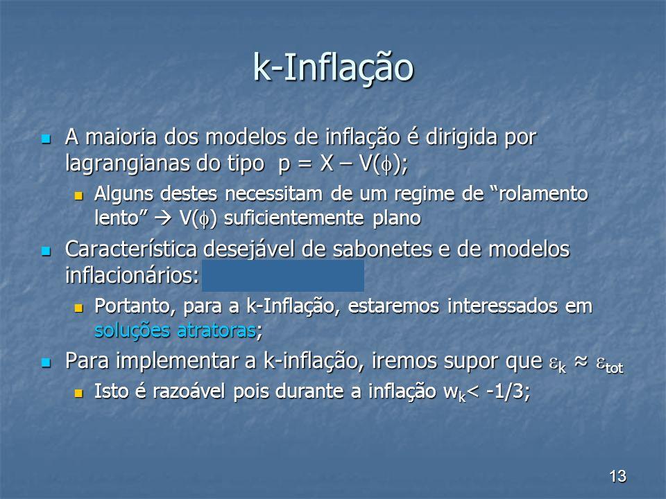 13 k-Inflação A maioria dos modelos de inflação é dirigida por lagrangianas do tipo p = X – V( ); A maioria dos modelos de inflação é dirigida por lag