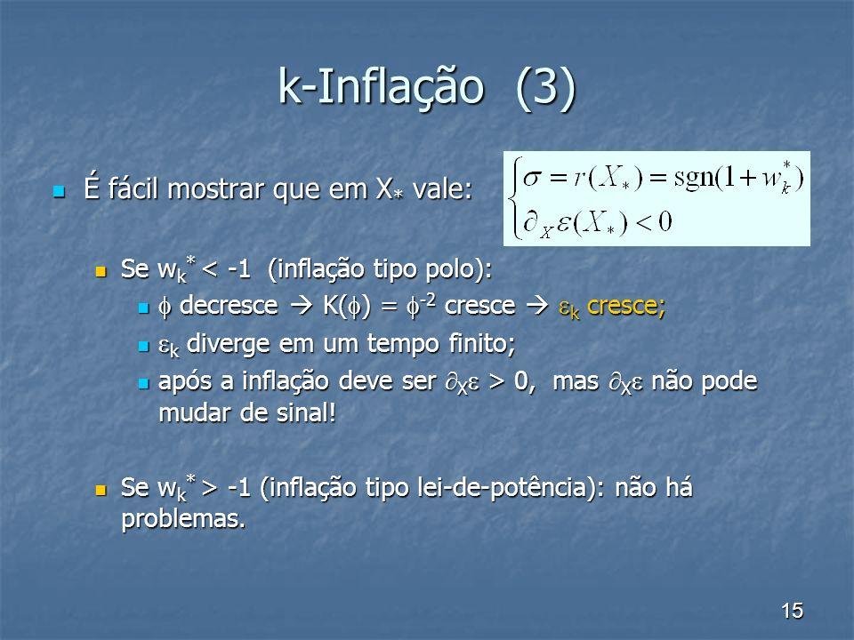 15 k-Inflação (3) É fácil mostrar que em X * vale: É fácil mostrar que em X * vale: Se w k * < -1 (inflação tipo polo): Se w k * < -1 (inflação tipo p