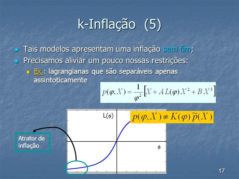 17 L( ) k-Inflação (5) Tais modelos apresentam uma inflação sem fim; Tais modelos apresentam uma inflação sem fim; Precisamos aliviar um pouco nossas