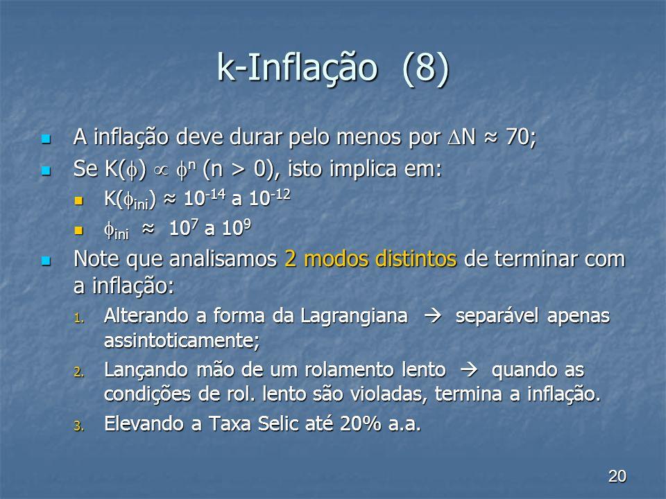 20 k-Inflação (8) A inflação deve durar pelo menos por N 70; A inflação deve durar pelo menos por N 70; Se K( ) n (n > 0), isto implica em: Se K( ) n