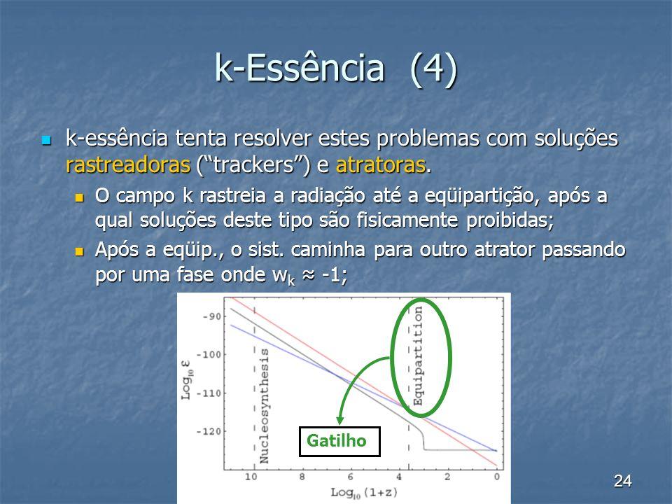 24 k-Essência (4) k-essência tenta resolver estes problemas com soluções rastreadoras (trackers) e atratoras. k-essência tenta resolver estes problema