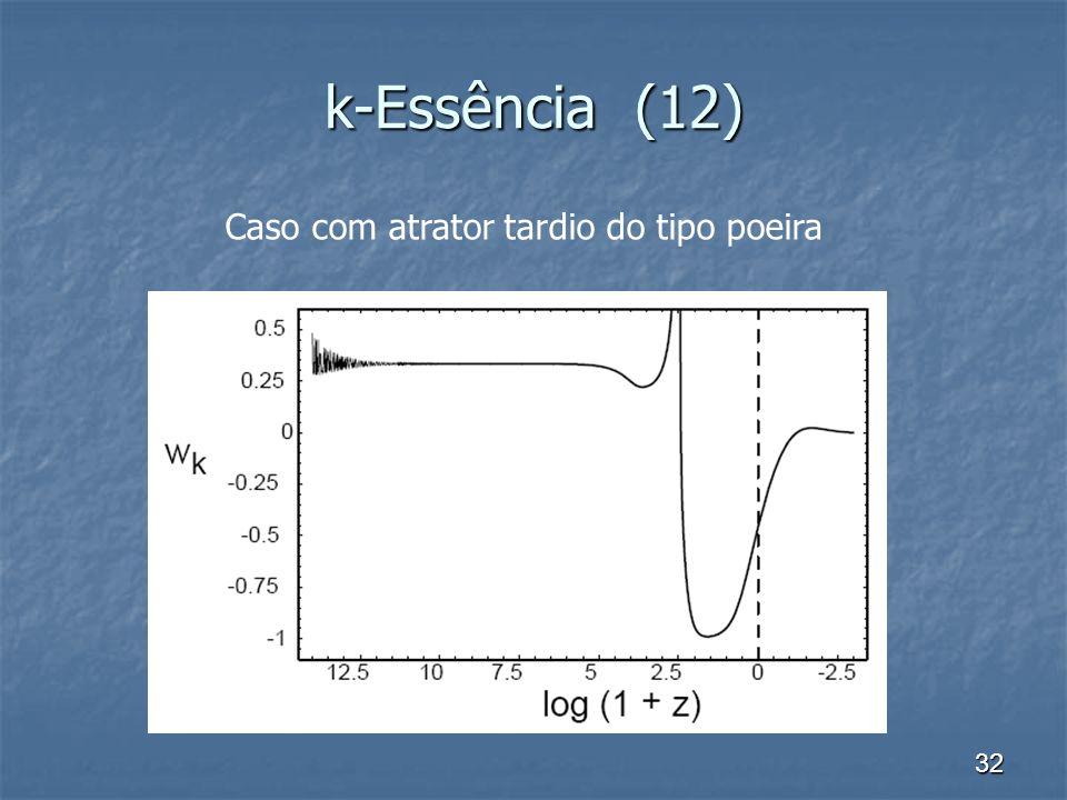 32 k-Essência (12) Caso com atrator tardio do tipo poeira
