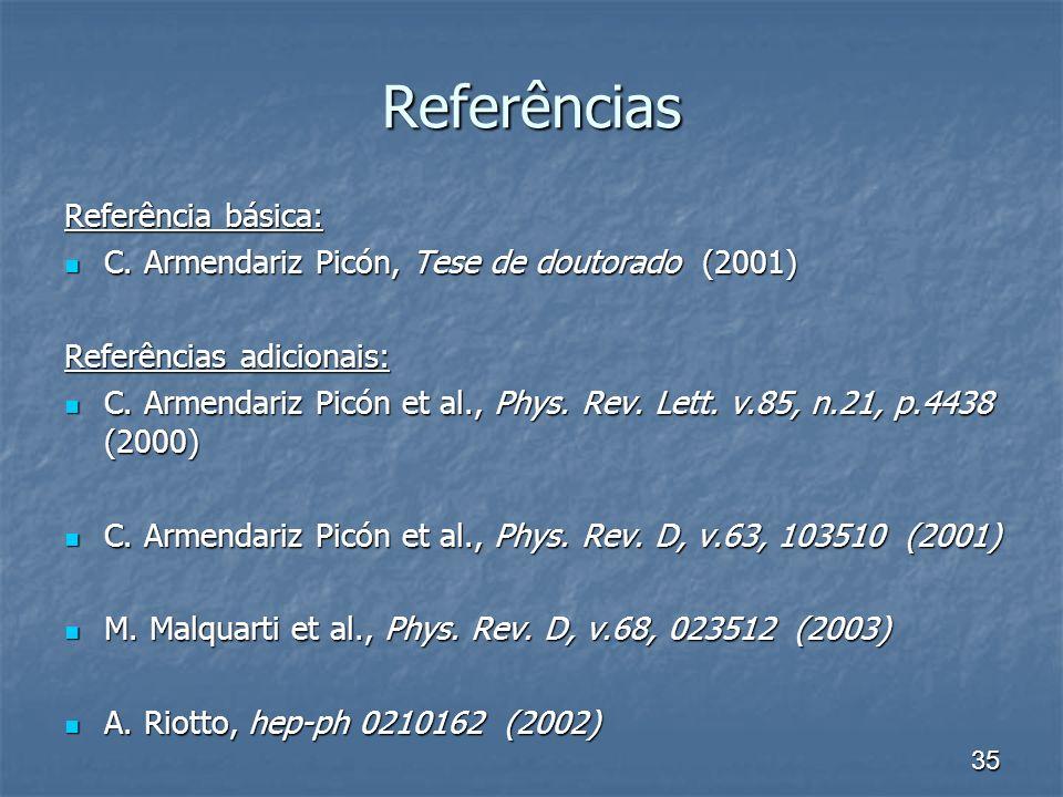 35 Referências Referência básica: C. Armendariz Picón, Tese de doutorado (2001) C. Armendariz Picón, Tese de doutorado (2001) Referências adicionais: