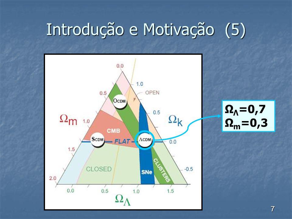 7 Introdução e Motivação (5) Ω Λ =0,7 Ω m =0,3