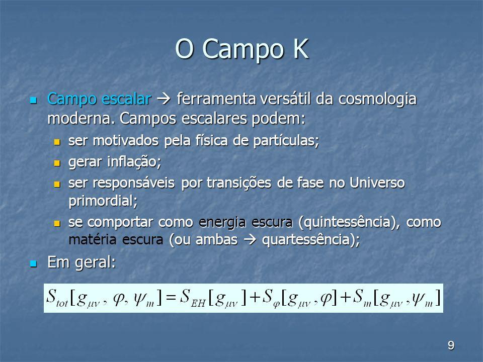 9 O Campo K Campo escalar ferramenta versátil da cosmologia moderna. Campos escalares podem: Campo escalar ferramenta versátil da cosmologia moderna.