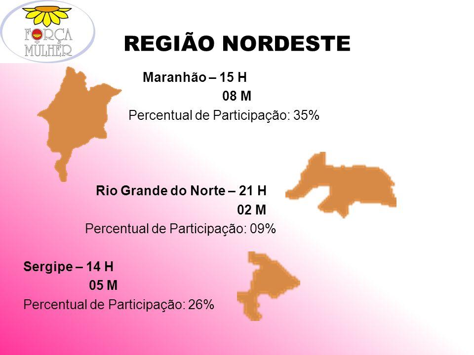 REGIÃO NORDESTE Maranhão – 15 H 08 M Percentual de Participação: 35% Rio Grande do Norte – 21 H 02 M Percentual de Participação: 09% Sergipe – 14 H 05 M Percentual de Participação: 26%