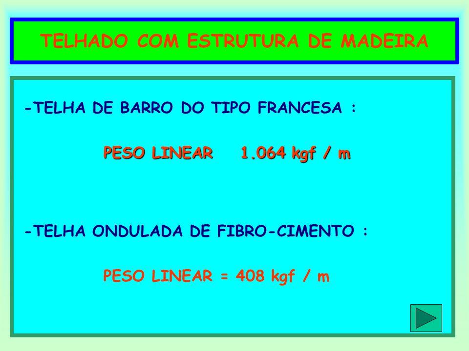 TELHADO COM ESTRUTURA DE MADEIRA -TELHA DE BARRO DO TIPO FRANCESA : PESO LINEAR 1.064 kgf / m -TELHA ONDULADA DE FIBRO-CIMENTO : PESO LINEAR = 408 kgf