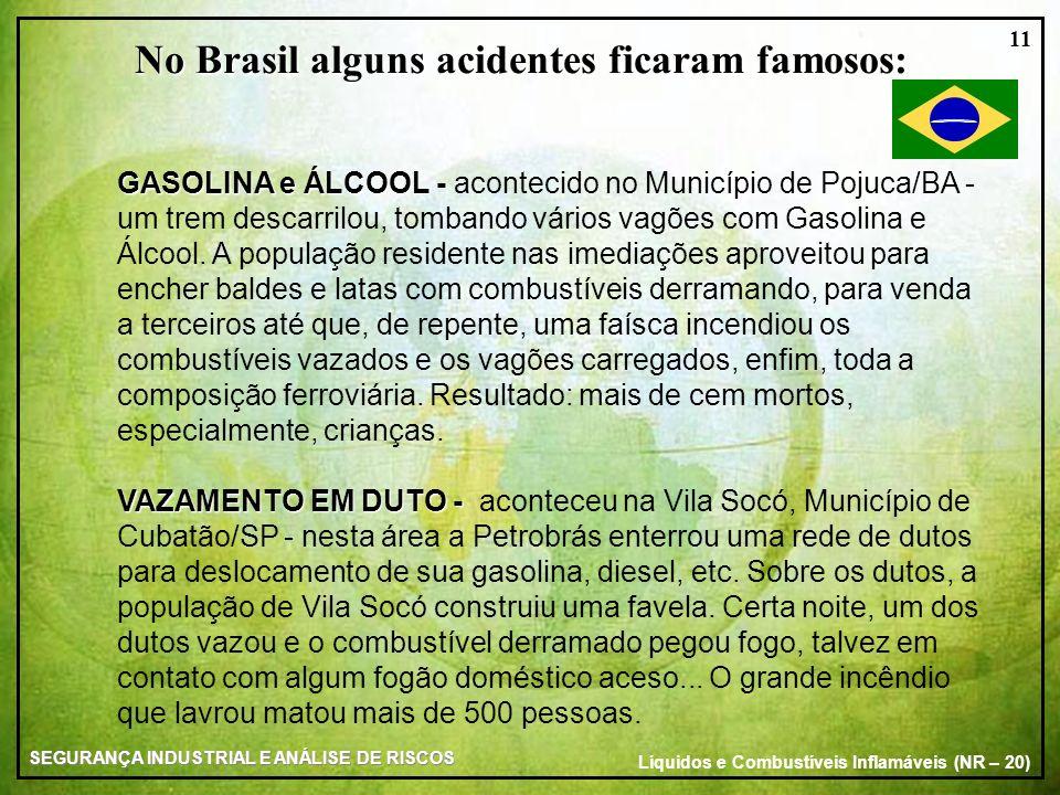 SEGURANÇA INDUSTRIAL E ANÁLISE DE RISCOS Líquidos e Combustíveis Inflamáveis (NR – 20) 11 No Brasil alguns acidentes ficaram famosos: GASOLINA e ÁLCOO