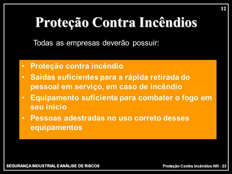 SEGURANÇA INDUSTRIAL E ANÁLISE DE RISCOS 12 Proteção Contra Incêndios Proteção contra incêndio Saídas suficientes para a rápida retirada do pessoal em