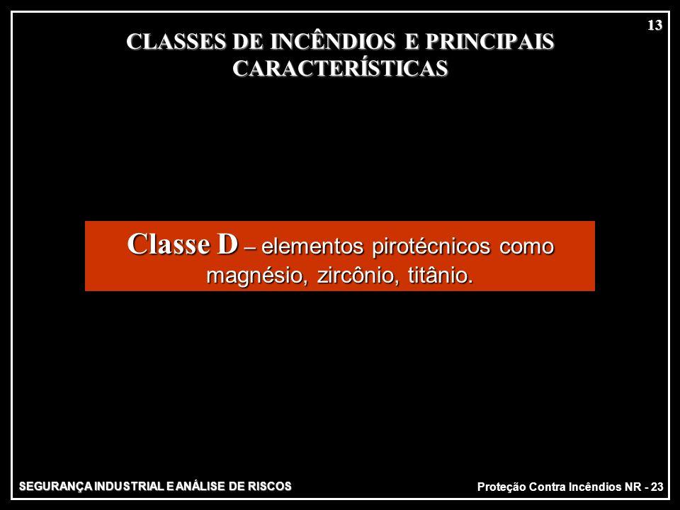 SEGURANÇA INDUSTRIAL E ANÁLISE DE RISCOS Proteção Contra Incêndios NR - 23 13 CLASSES DE INCÊNDIOS E PRINCIPAIS CARACTERÍSTICAS MATERIAIS SÓLIDOS MATE
