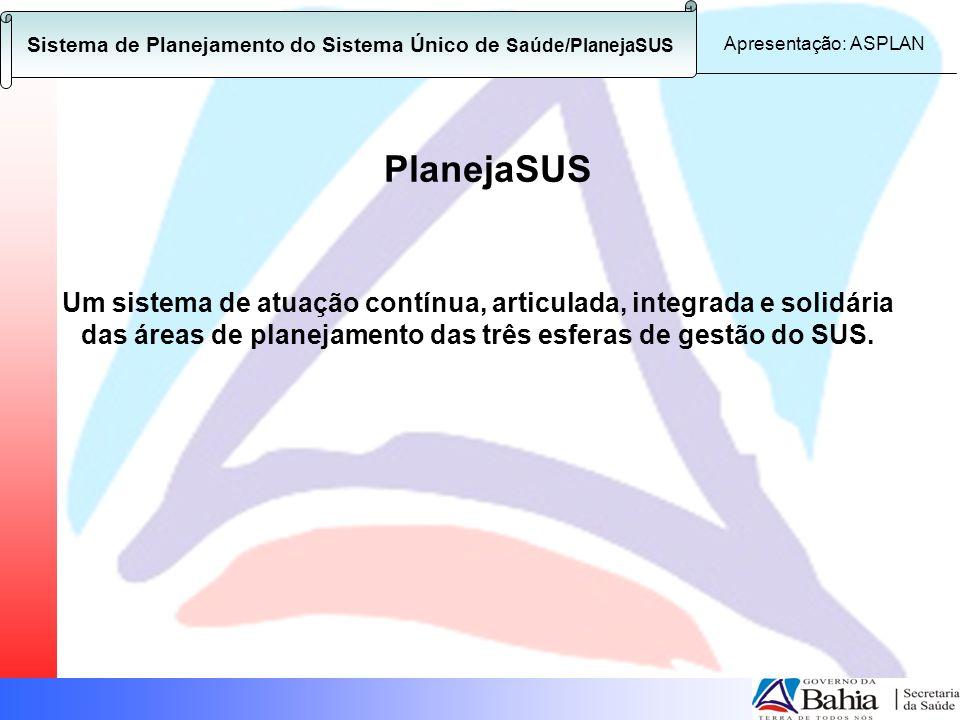 Sistema de Planejamento do Sistema Único de Saúde – PlanejaSUS Instrumentos Jurídico-Legais Regulamentação: Portaria nº 3.085 de 1º de Dezembro de 2006 - Regulamenta o PlanejaSUS; Portaria nº 3.332 de 28 de Dezembro de 2006 – Aprova orientações gerais relativas ao Instrumento PlanejaSUS; Portaria nº 376 de 16 de fevereiro de 2007 - Institui o incentivo financeiro para o Sistema de Planejamento do SUS; Portaria nº 1510 de 25 de junho de 2007 – Desvincula o repasse do incentivo financeiro para a Organização do Sistema de Planejamento do SUS da adesão ao Pacto pela Saúde.