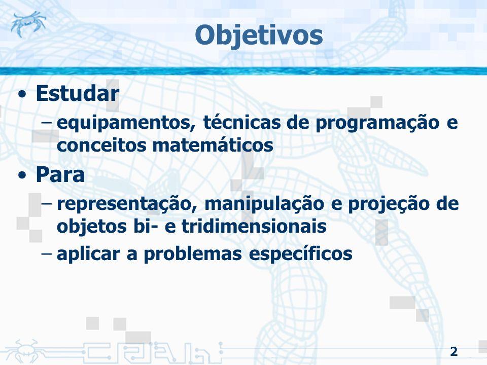 3 Sumário do Curso Sistemas Gráficos e Modelos Programação Gráfica Input e Interação Objetos Geométricos e Transformações Visualização Pintura Técnicas Discretas Implementação de um Renderizador