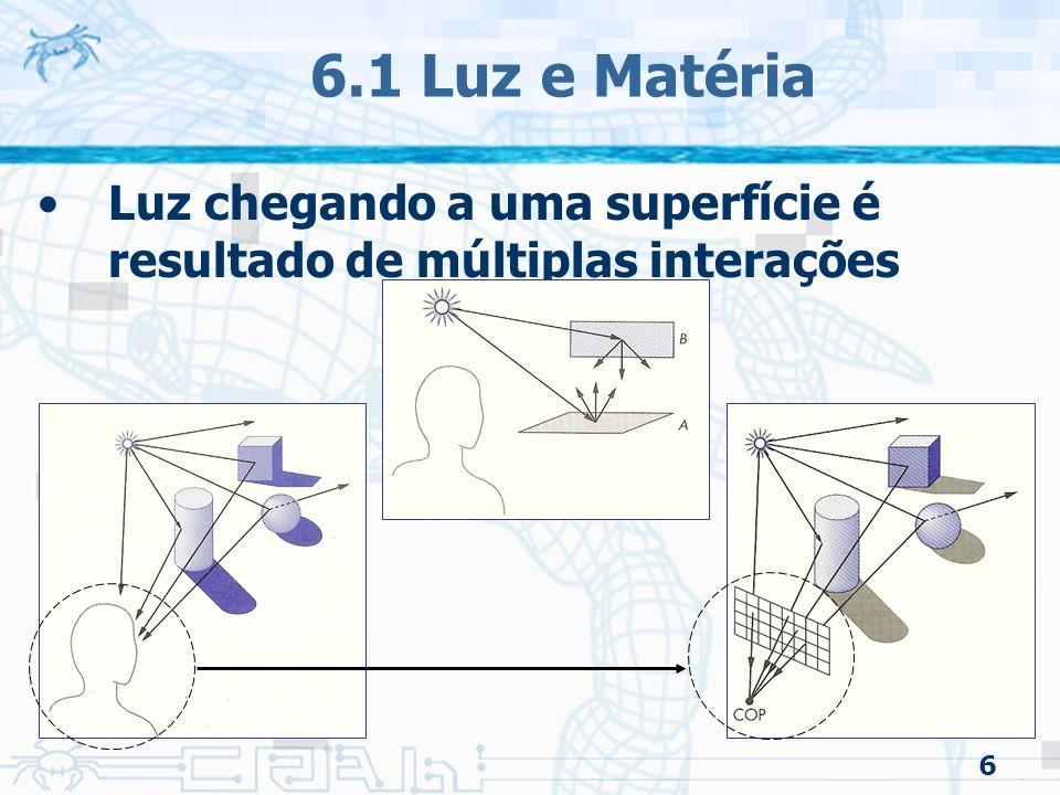 57 6.8 Especificação de Materiais/OpenGL Definir as propriedades do material i glFloat ka_i[]={0.2, 0.2, 0.2, 1.0}; glFloat kd_i[]={1.0, 0.8, 0.0, 1.0}; glFloat ks_i[]={1.0, 1.0, 1.0, 1.0}; Utilizar o comando glMaterial*() glMaterialfv(GL_FRONT, GL_AMBIENT, ka_i); glMaterialfv(GL_FRONT, GL_DIFFUSE, kd_i); glMaterialfv(GL_FRONT, GL_SPECULAR, ks_i); glMaterialf (GL_FRONT, GL_SHININESS, 100.0);