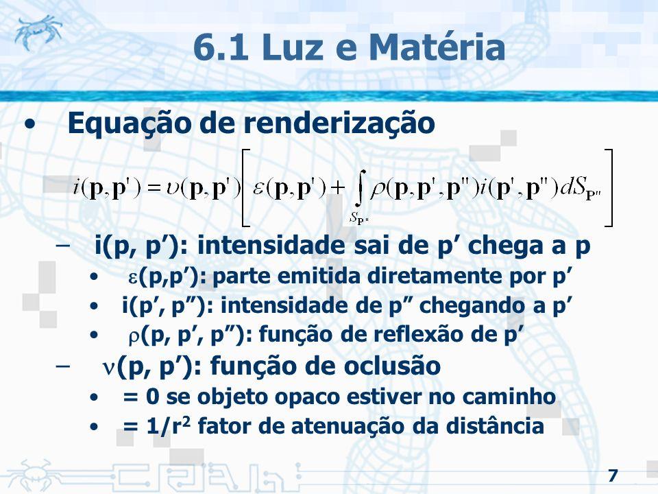 8 6.1 Luz e Matéria Classificação da interação luz/material –Superfícies especulares –Superfícies difusas –Superfícies translúcidas