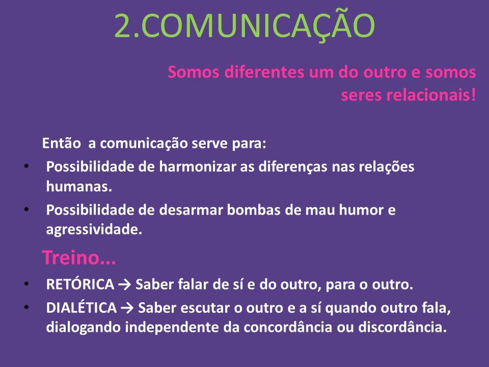 2.COMUNICAÇÃO Somos diferentes um do outro e somos seres relacionais! Então a comunicação serve para: Possibilidade de harmonizar as diferenças nas re