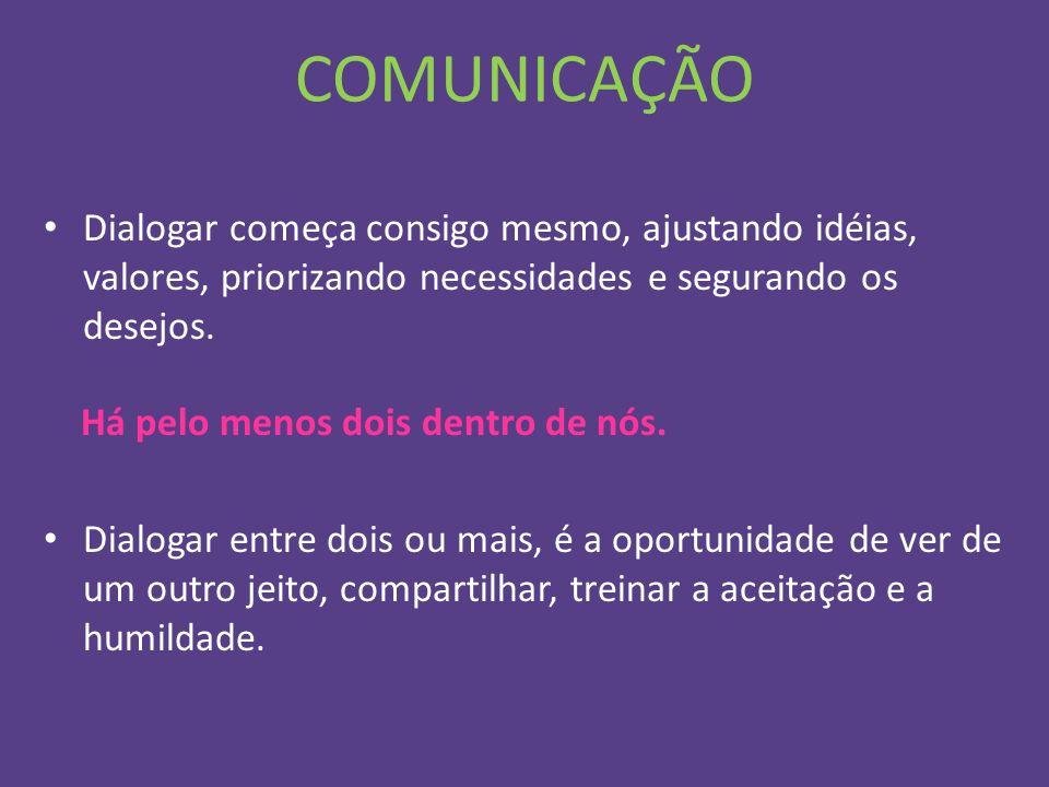 COMUNICAÇÃO Dialogar começa consigo mesmo, ajustando idéias, valores, priorizando necessidades e segurando os desejos. Há pelo menos dois dentro de nó