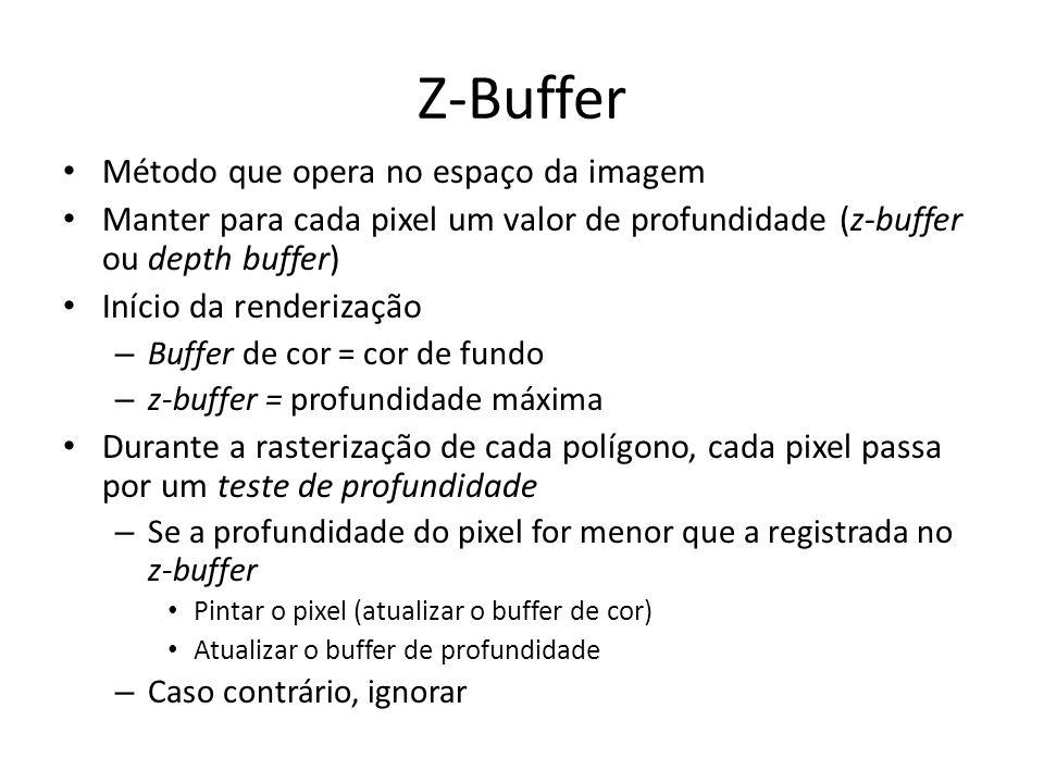 Z-Buffer Método que opera no espaço da imagem Manter para cada pixel um valor de profundidade (z-buffer ou depth buffer) Início da renderização – Buff