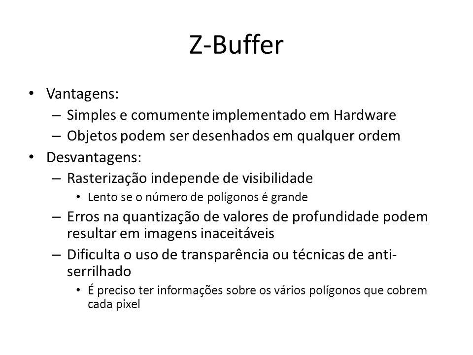 Z-Buffer Vantagens: – Simples e comumente implementado em Hardware – Objetos podem ser desenhados em qualquer ordem Desvantagens: – Rasterização indep