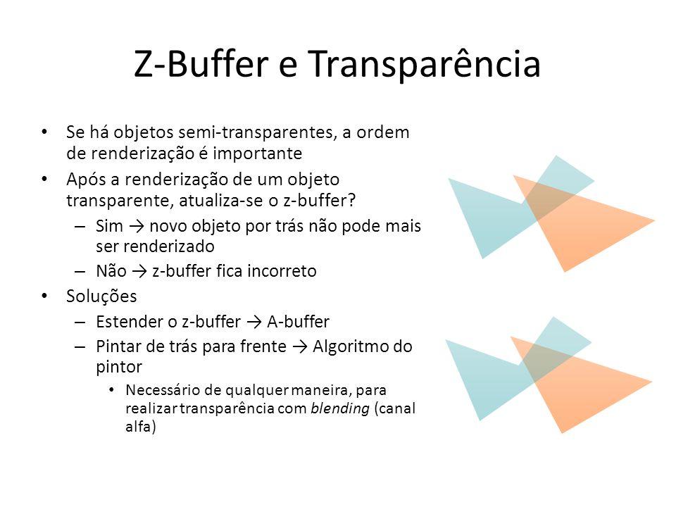 Z-Buffer e Transparência Se há objetos semi-transparentes, a ordem de renderização é importante Após a renderização de um objeto transparente, atualiz