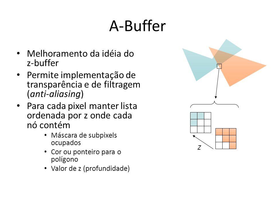 A-Buffer Melhoramento da idéia do z-buffer Permite implementação de transparência e de filtragem (anti-aliasing) Para cada pixel manter lista ordenada