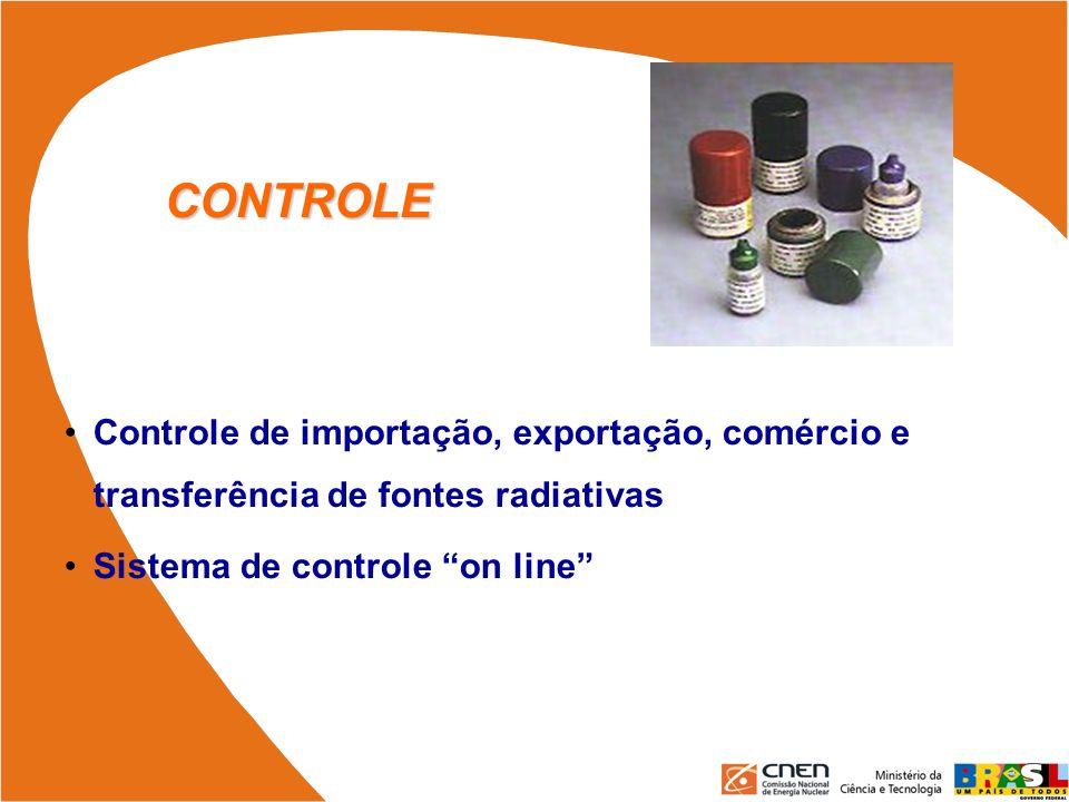 CONTROLE Controle de importação, exportação, comércio e transferência de fontes radiativas Sistema de controle on line