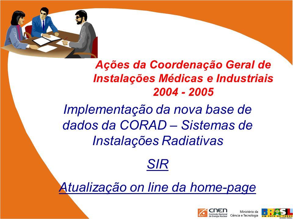 Ações da Coordenação Geral de Instalações Médicas e Industriais 2004 - 2005 Implementação da nova base de dados da CORAD – Sistemas de Instalações Rad