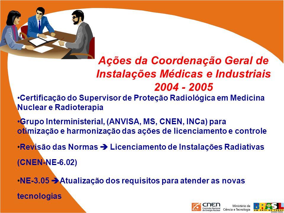 Ações da Coordenação Geral de Instalações Médicas e Industriais 2004 - 2005 Certificação do Supervisor de Proteção Radiológica em Medicina Nuclear e R