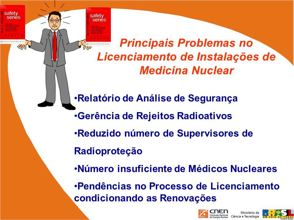Principais Problemas no Licenciamento de Instalações de Medicina Nuclear Relatório de Análise de Segurança Gerência de Rejeitos Radioativos Reduzido n