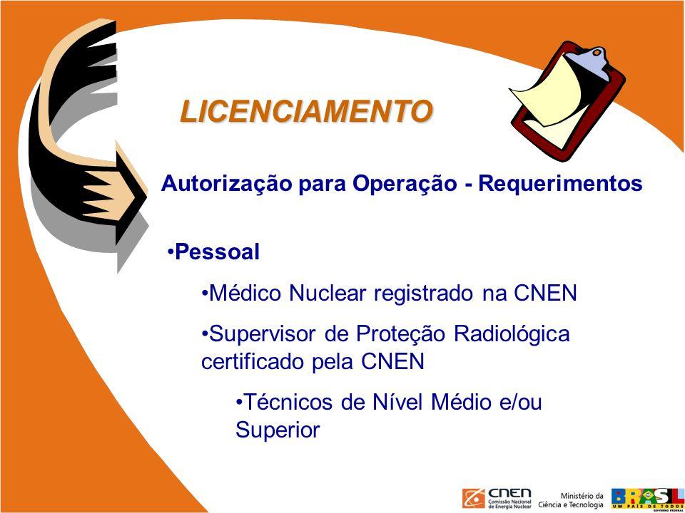 LICENCIAMENTO Autorização para Operação - Requerimentos Pessoal Médico Nuclear registrado na CNEN Supervisor de Proteção Radiológica certificado pela
