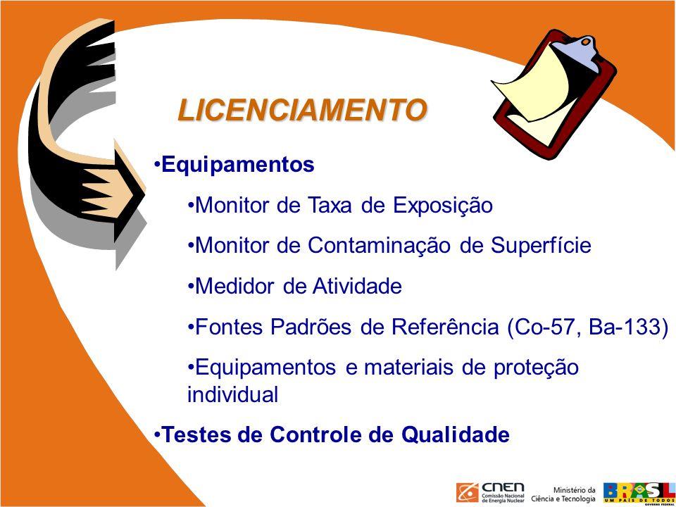 LICENCIAMENTO Equipamentos Monitor de Taxa de Exposição Monitor de Contaminação de Superfície Medidor de Atividade Fontes Padrões de Referência (Co-57