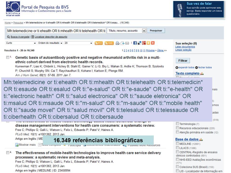 Mh:telemedicine or ti:ehealth OR ti:mhealth OR ti:telehealth OR ti:telemedicin* OR ti:esaude OR ti:esalud OR ti: